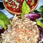 Fresh Tomato Salad And Homemade Coleslaw
